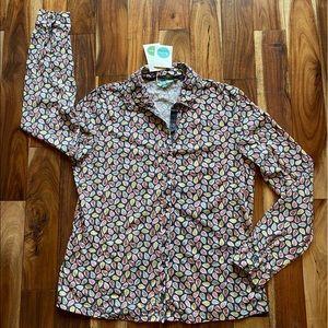 Boden Leaf Print Button Down Shirt Size 10-12 NWT